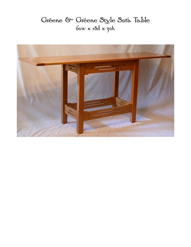 Greene greene style sofa table mike devlin furniture for Greene and greene inspired furniture