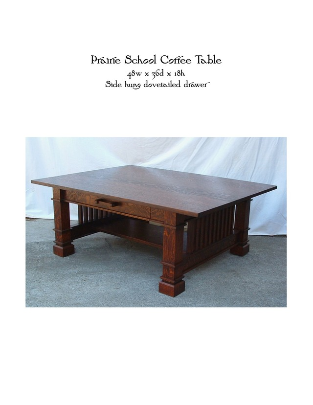 Prairie School Coffee Table MIKE DEVLIN FURNITURE DESIGN